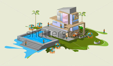 Hosue clipart pool Best Download Page House Art