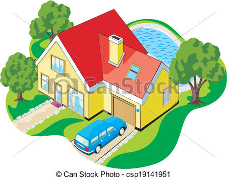 Hosue clipart pool And  garage home Vector