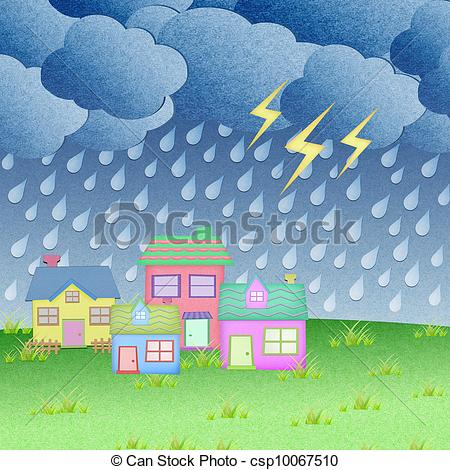 Hosue clipart raining From time paper with with