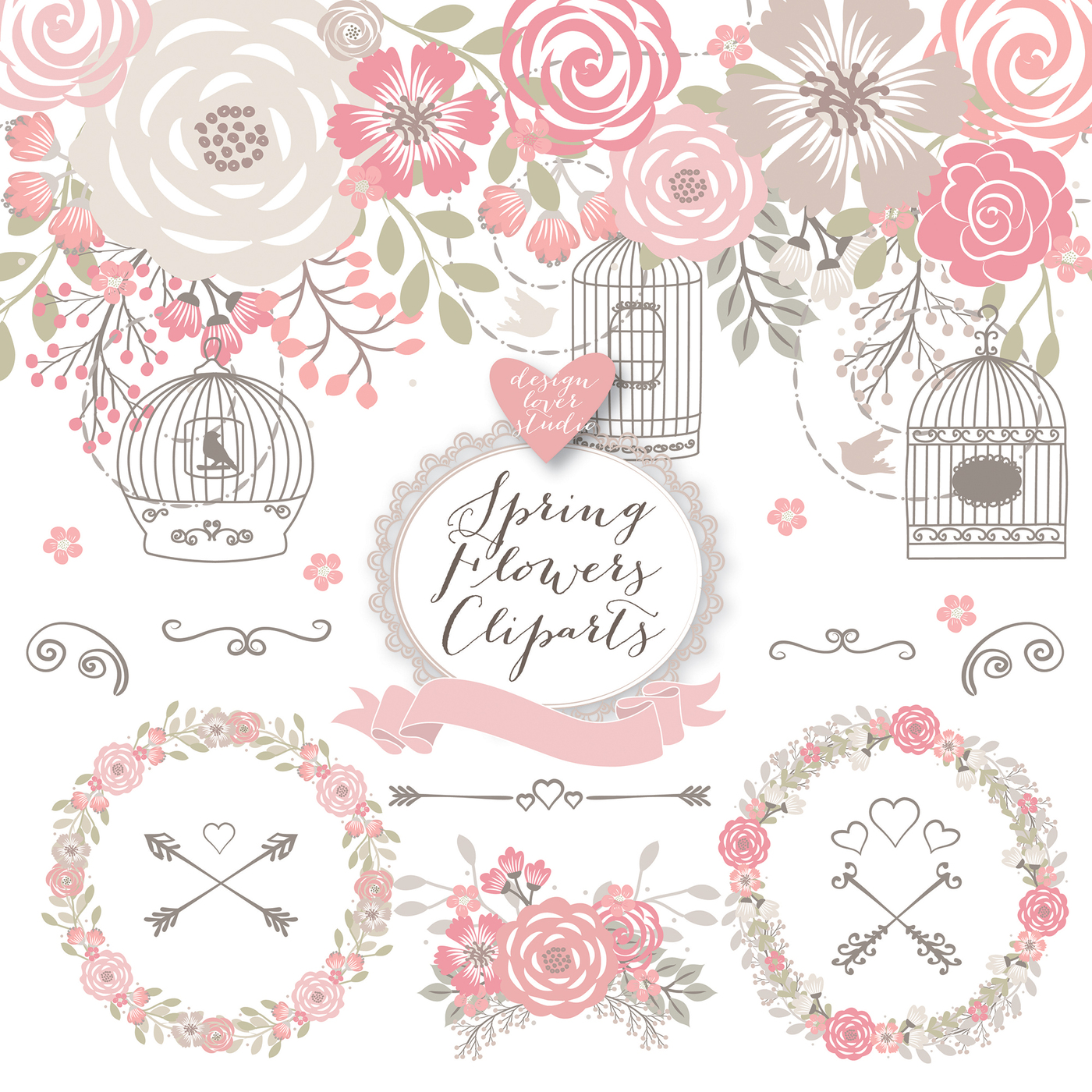 Cage clipart shabby chic Cage wedding  chic paper