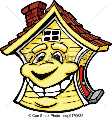 Hosue clipart smiling Illustration Vector  Face House
