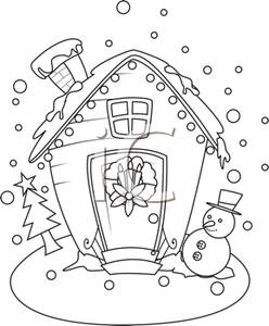 Hosue clipart snowman Snowman on House Free with