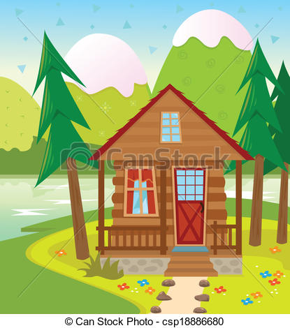 Cottage clipart lake cabin The of Clip Illustration in