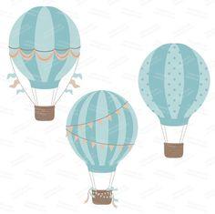 Light Blue clipart hot air balloon Hot Hot Air Premium Digital