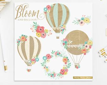 Peach clipart balloon Shabby ClipArt Intant Hot Sea