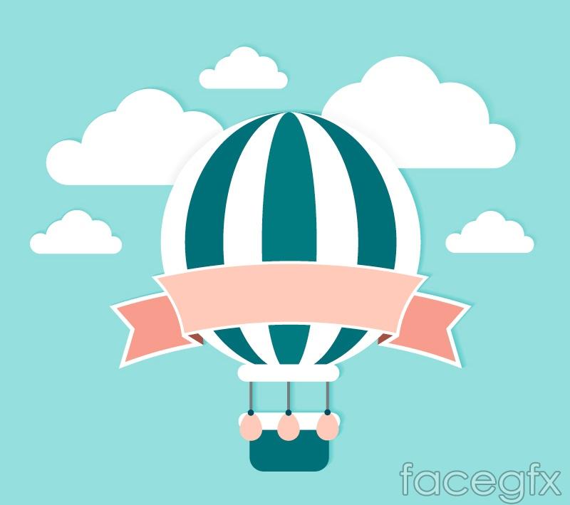 Light Blue clipart hot air balloon Fresh Free vector Free of