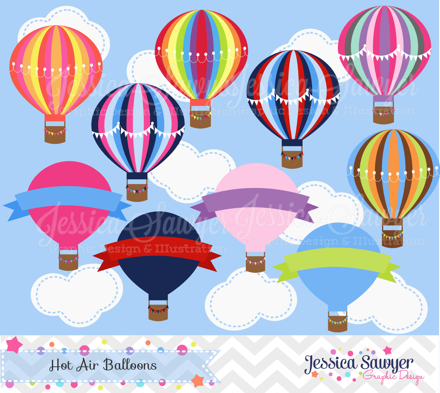 Balloon clipart printable INSTANT commercial balloon hot DOWNLOAD