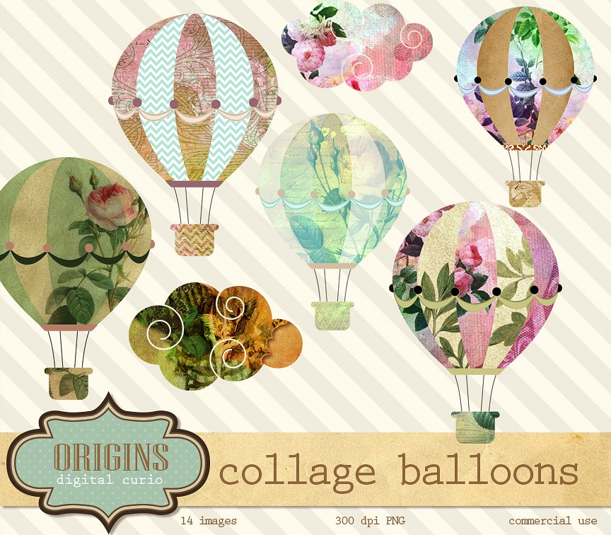 Hot Air Balloon clipart purple object Air on Hot Illustrations Collage