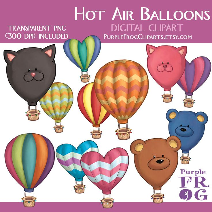 Hot Air Balloon clipart purple object Digital png images BALLOONS Pinterest