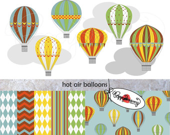 Hot Air Balloon clipart scrapbook Balloons Scrapbook Elements Art (300