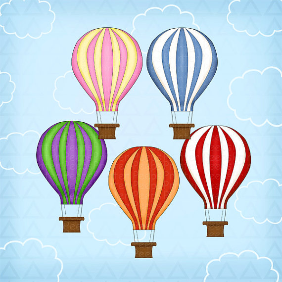 Hot Air Balloon clipart scrapbook Balloon Cartoon Pack Green Digital
