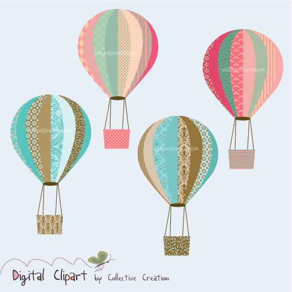 Hot Air Balloon clipart scrapbook Balloon Paper art Cardmaking Set
