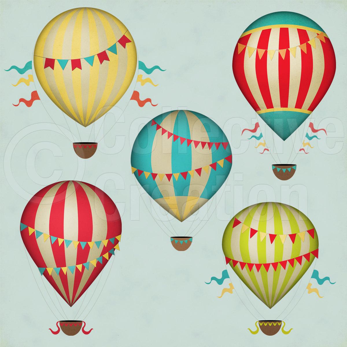 Hot Air Balloon clipart vintage Set Clip Air Vintage Digital