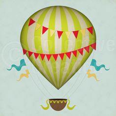 Hot Air Balloon clipart vintage By Balloons Vintage Clip Digital