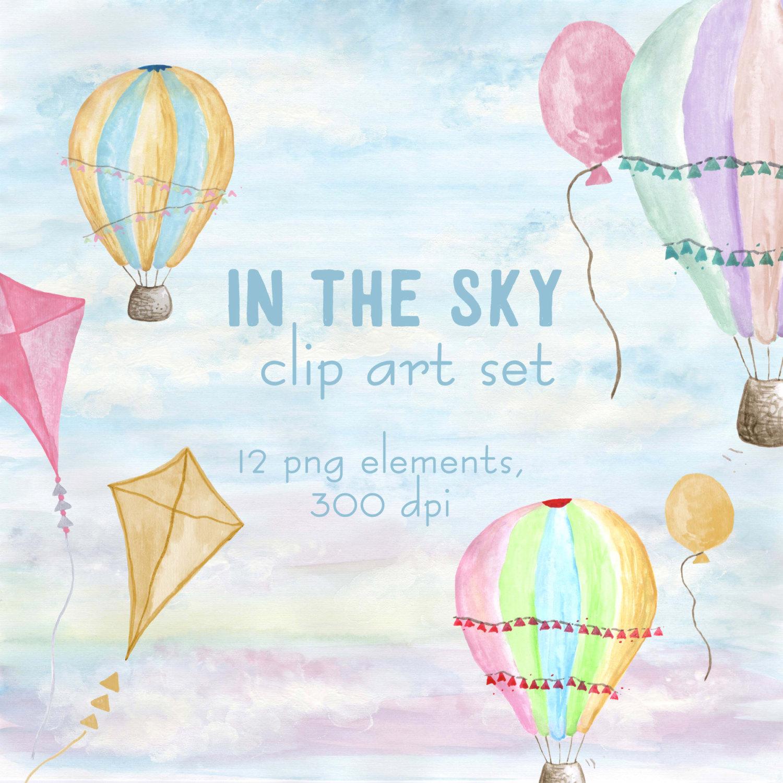 Light Blue clipart hot air balloon Balloons pastel baby Hot balloons