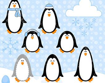 Penguin clipart winter break Etsy Christmas Winter Instant Download