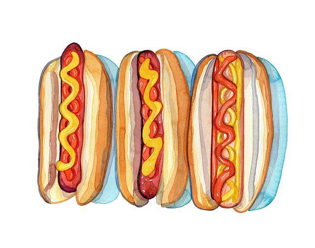 Hot Dog clipart ballgame 125 Trois images Laura Illustrations