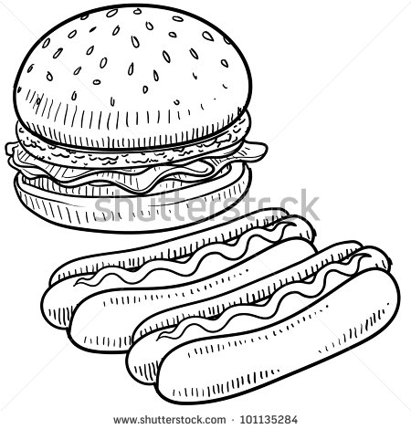 Hot Dog clipart plain burger And condiments by sketch hot