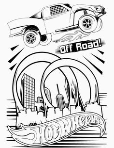 Hot Wheels clipart black and white Huge Coloring coloring pages page