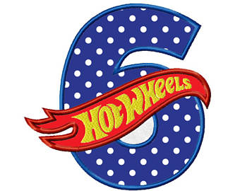 Hot Wheels clipart blue 6th Machine Hot applique Applique