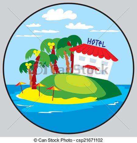 Beach clipart beach hotel Emblem Clipart Vector round beach