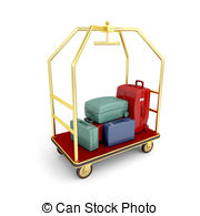 Cart clipart bellhop Illustrations suitcases royalty Hotel 874