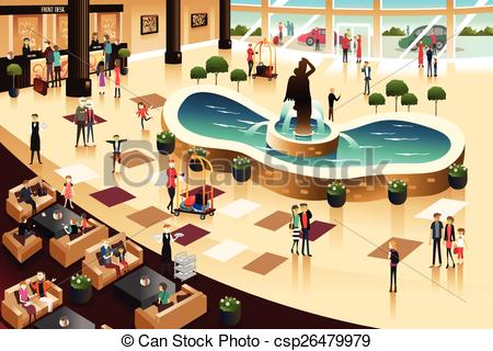 Hotel clipart hotel lobby #2