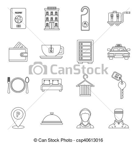 Hotel clipart food court Of style in set icons