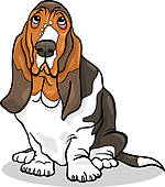 Basset Hound clipart hunting dog · Doberman basset cartoon illustration