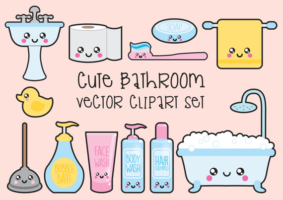 Bathroom clipart background Clip Bathroom Instant Bathroom Kawaii