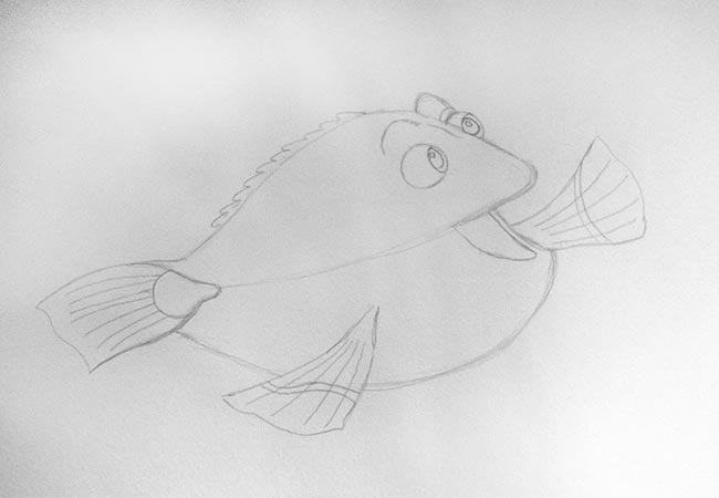 How to draw a Dori fish from a cartoon