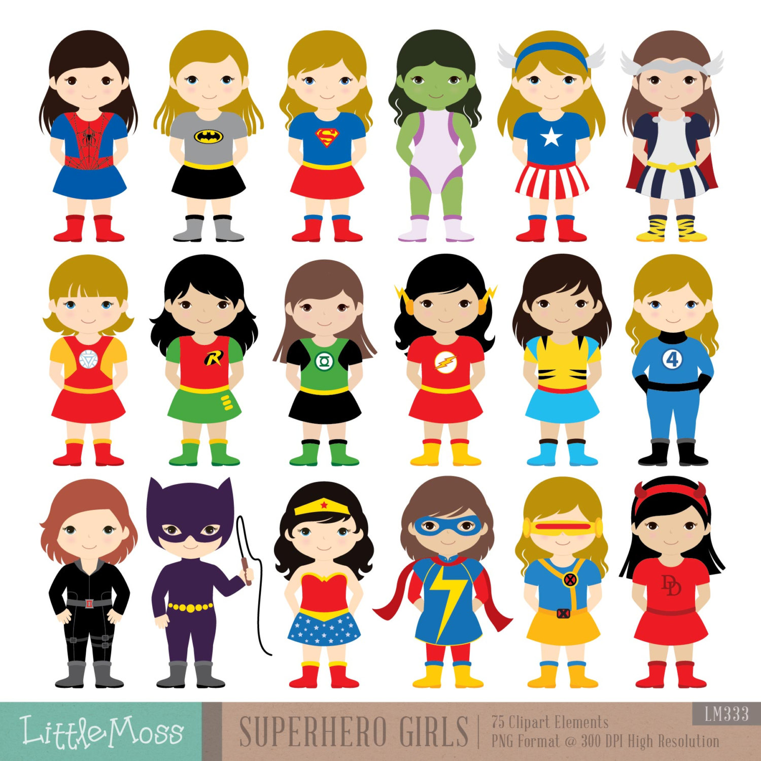 Woman clipart kid Superhero Clipart Superheroes Etsy Superhero