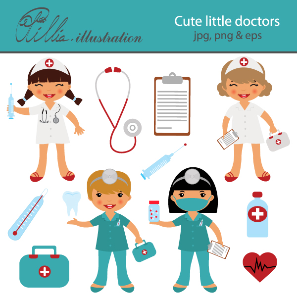 Syringe clipart medical instrument Doctors  little with set