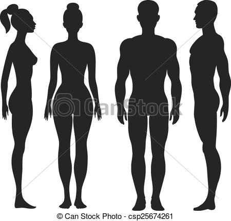 Human clipart man woman Csp25674261 silhouettes Front man side