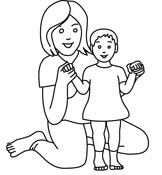 Indian clipart mother and child And with Size: White