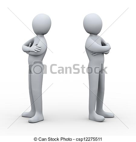 3D clipart two person People disagree people of illustration