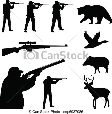 Hunting clipart Vector Vector clipart Hunting silhouettes