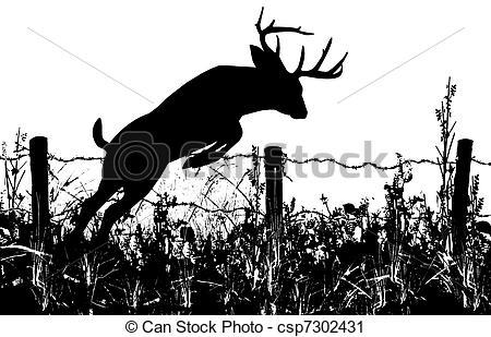 Drawn buck woodcut Barbed Deer Jumping Clipart Buck