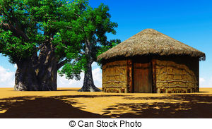 Stock village With and baobabs