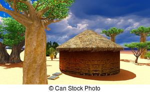 With village baobab huts 499