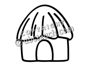 Hut clipart coloring #7