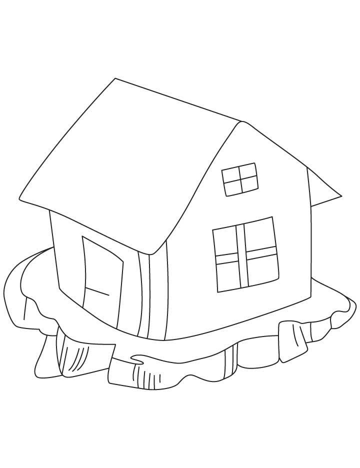 Hut clipart coloring #11