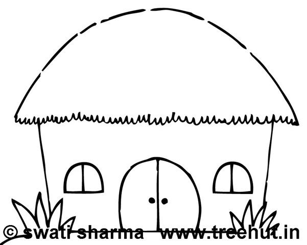 Hut clipart coloring #3