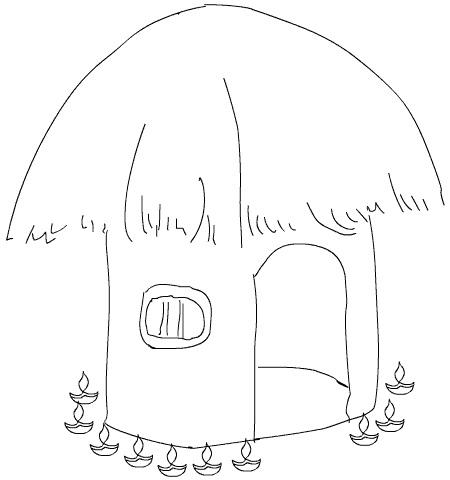 Hut clipart coloring #1