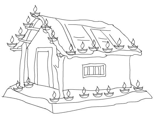 Hut clipart coloring #4