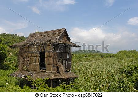 Shack clipart grass hut Rural rural chinese southern of