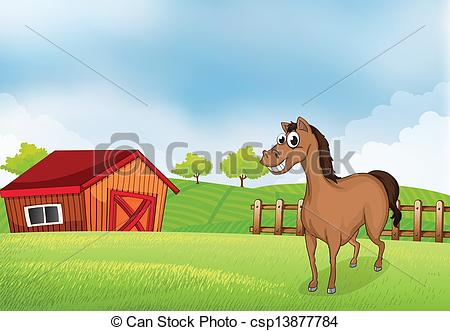 Barn clipart gate Illustration A horse house