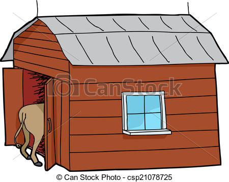 Shack clipart horse house Illustration with Small Rear of
