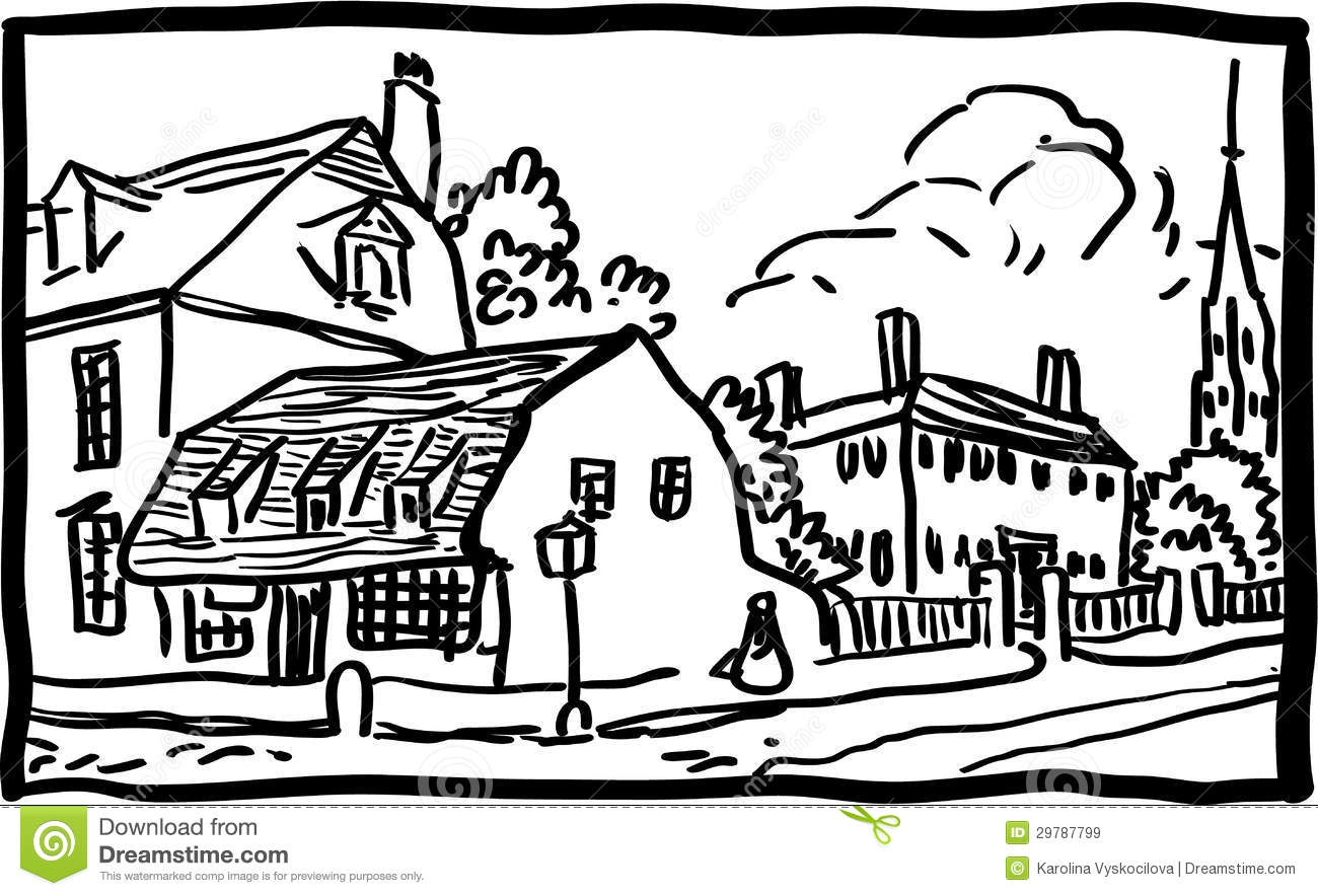 Community clipart village Pueblo White And Black Clipart