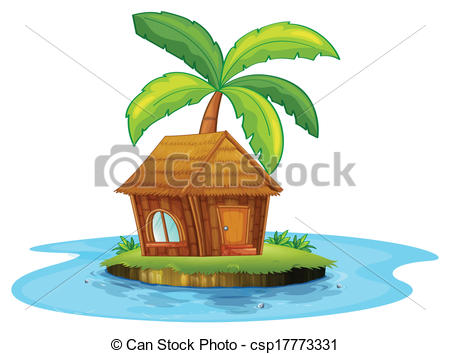 Islet clipart two tree And hut palm a with